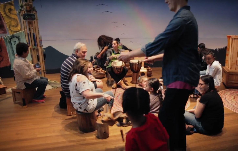 Families at Noah's Ark exhibit at the Skirball Museum